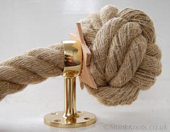 3 ply manrope knot in hemp stair rope